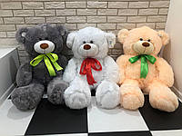 Мишка медведь плюшевый  пушистый 120 см серый, бежевый, белый