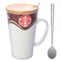 Чашка керамическая с крышкой для кофе (чая) 400мл Stenson Starbucks (N00580)