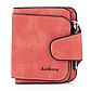 Женский Кошелек Baellerry Forever Mini (N2346) Маленький Замшевый на Кнопке для Карточек Красный, фото 3