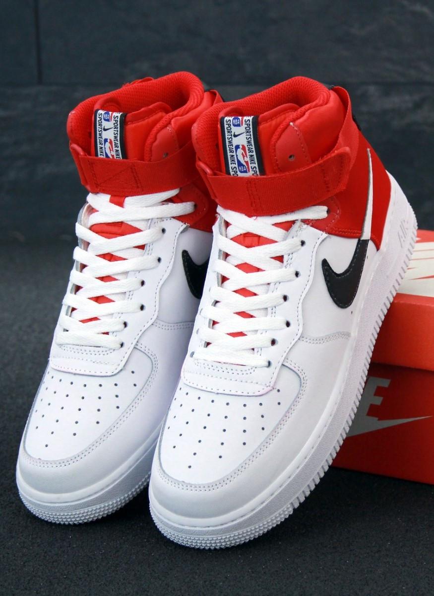 Мужские кроссовки Air Force 1 mid white белые