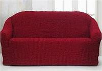 Бордовая накидка-чехол на диван №10 170х230 см