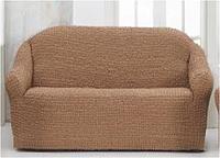 Бежевая накидка-чехол на диван №12/15 170х230 см