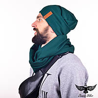 Набор изумрудного цвета: шапка + шарф-снуд. unisex, фото 1