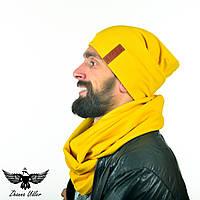 Набор желтого цвета: шапка + шарф-снуд. unisex