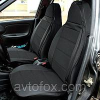 """Чехлы сидений ВАЗ 2105 комплект Кожзаменитель черная + ткань серая """"Пилот"""""""