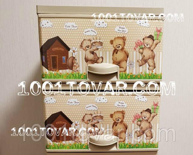 """Комод пластиковый, с рисунком """"Медвежата"""", 2 ящика"""