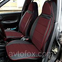 """Чехлы сидений ВАЗ 2106 комплект Кожзаменитель черная + ткань красная """"Пилот"""""""