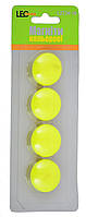 Магніти для дошки 4шт L2734-10 неон жовтий