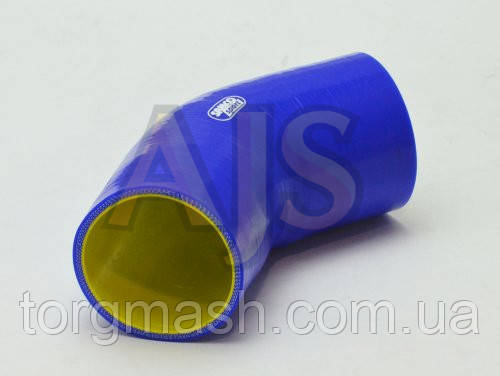 Патрубок силиконовый 45 градусов 63-76 мм усиленный 4-х слойный Premium