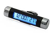 ТОВАР ИМЕЕТ ДЕФЕКТ! ЧИТАЙТЕ ОПИСАНИЕ! Цифровые автомобильные часы - термометр  с Led подсветкой Уценка! №1125 Уценка!