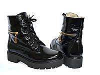 Ботинки женские демисезонные лаковые на шнуровке, подошва утолщенная, фото 1