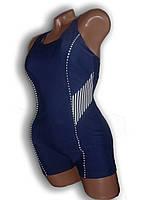 Купальник женский спортивный для бассейна. Большой размер. Синий. Polovi. 1509C