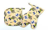 Набор прихватка + рукавичка белорусская ткань рисунок прованс лаванда