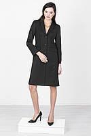 Черное женское пальто с декоративной отстрочкой