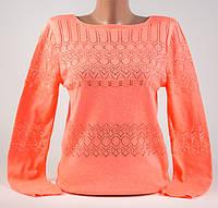 Пуловер, кофта со стразами ярко-оранжевый неон