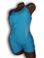 Купальник женский спортивный для бассейна. Большой размер. Голубой. Polovi. 1509C