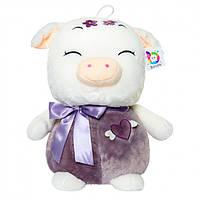 Мягкая игрушка BONDIK Свинка сиреневая из натуральных материалов 50 см (RN 453)