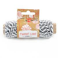 Шнур двухцветный декоративный бело-черный 27 м, код: 741597