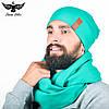 Набор бирюзового цвета: шарф-снуд + шапка. unisex