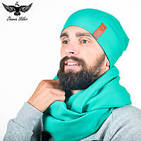 Набор бирюзового цвета: шарф-снуд + шапка. unisex, фото 1