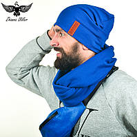 Набор синего цвета: шарф-снуд + шапка. , фото 1