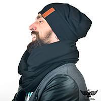 Набор черного цвета: шарф-снуд + шапка. unisex