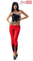 Леггинсы женские с кружевом - Красный
