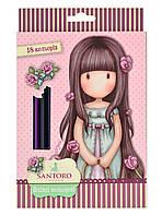 """Разноцветные карандаши """"Santoro Rosebud"""" 18 цветов, код: 290567"""