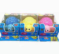 Музыкальная развивающая игрушка черепашка WJ188A-1 3 цвета, батар, Музыкальная развивающая игрушка , свет , в кор 13*8*22см