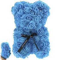 Мишка из роз (синий) CN836