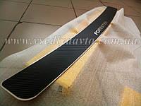 Накладка на бампер Skoda Superb II универсал (2009-2013)(NataNiko Carbon)