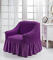 Чехол на кресло с юбкой Фиолетовый Home Collection Evibu Турция 50125