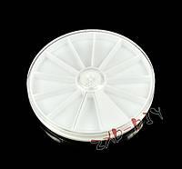 Контейнер из пластика, для страз, бисера, паеток и других мелочей, 12 ячеек, диаметр 80мм.