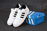 Мужские кроссовки Adidas Forum белые с черным. Фото в живую. Реплика, фото 5