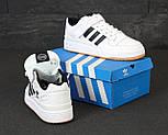 Мужские кроссовки Adidas Forum белые с черным. Фото в живую. Реплика, фото 7