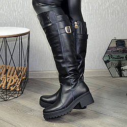 Сапоги черные женские кожаные на устойчивом каблуке