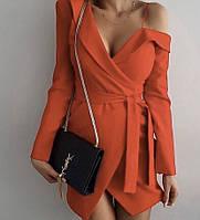 Женское платье из костюмки с оригинальным кроем, фото 1
