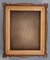 Киот из ольхи фигурный с тёмной тонировкой, со светлой внутренней деревянной рамой, фото 1