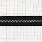 Молния металлическая тип 5 Италия двухстороння черная зуб никель, фото 3