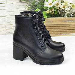 Ботинки женские кожаные на устойчивом каблуке, цвет черный