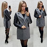 Пальто кашемир арт. 821/1 чёрный + серый / чёрный с серым