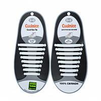 Силиконовые шнурки Coolnice В01 Белые (nri-831), фото 1