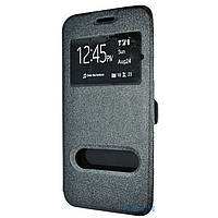 Чехол книжка на Huawei Y5 II Черный кожаный защитный чехол для телефона с двумя окнами.