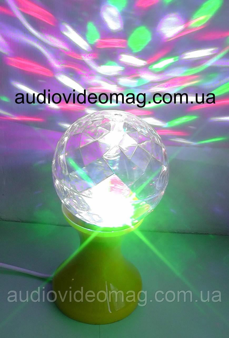 Обертова світлодіодна кольорова лампа на підставці