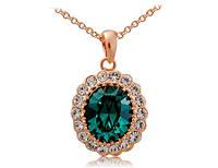 Ожерелье «Изумрудная роскошь» кулон украшен крупным камнем изумрудного цвета, купить