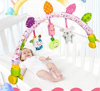 Підвісна дуга на ліжко дитяча мультирозвиваюча в 2 положеннях рожева