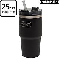 Термокружка с соломинкой Stanley Adventure Quencher 600 мл, черная (термочашка, термостакан), фото 1