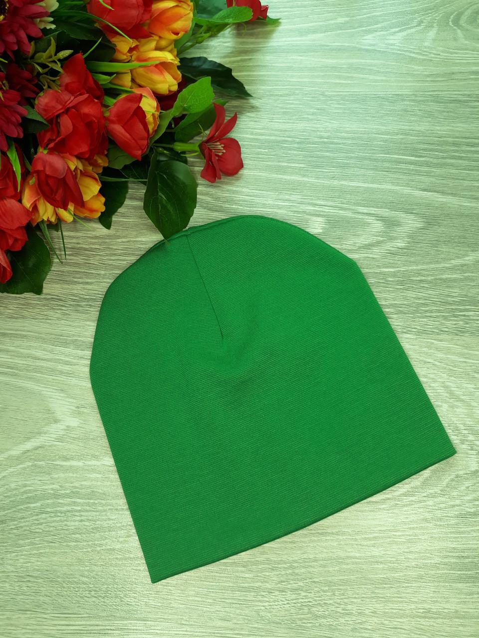 Шапка Handmade французский трикотаж Free  ярко зеленый  (Н200)
