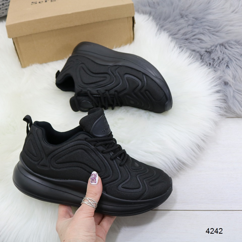 Кроссовки женские текстильные черные похожи на найк nike air max 720