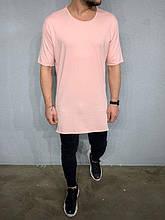 Мужская длинная футболка (розовая) - Турция